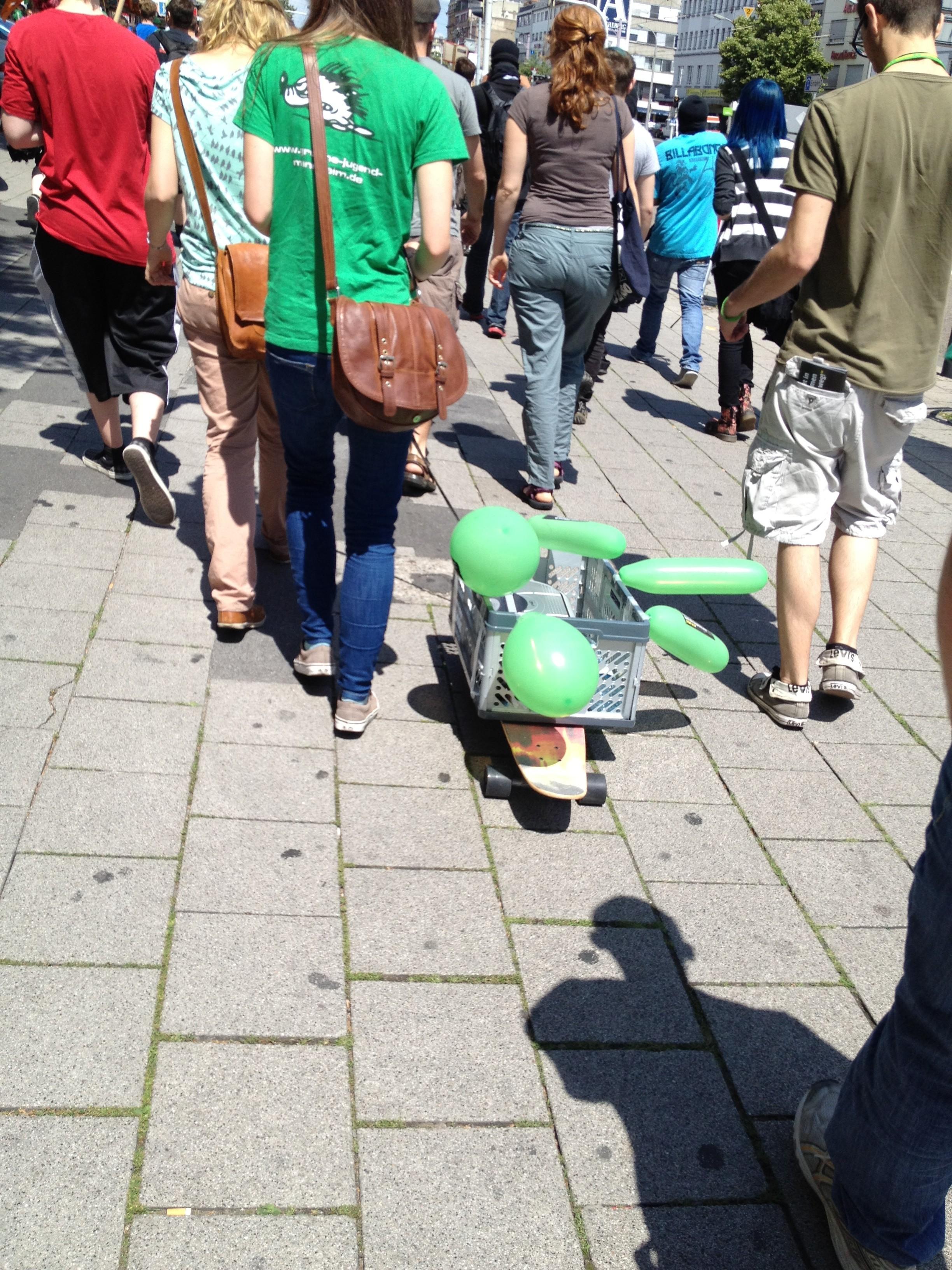 Der Lautsprecherwagen der grünen Jugend auf der Anti-Acta Demo in Mannheim
