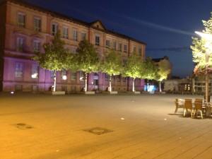 Lampertheimer Schillerplatz am frühen Morgen, aufgenommen mit Nightcap