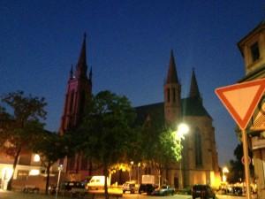 Dom in Lampertheim am frühen Morgen, aufgenommen mit Nightcap