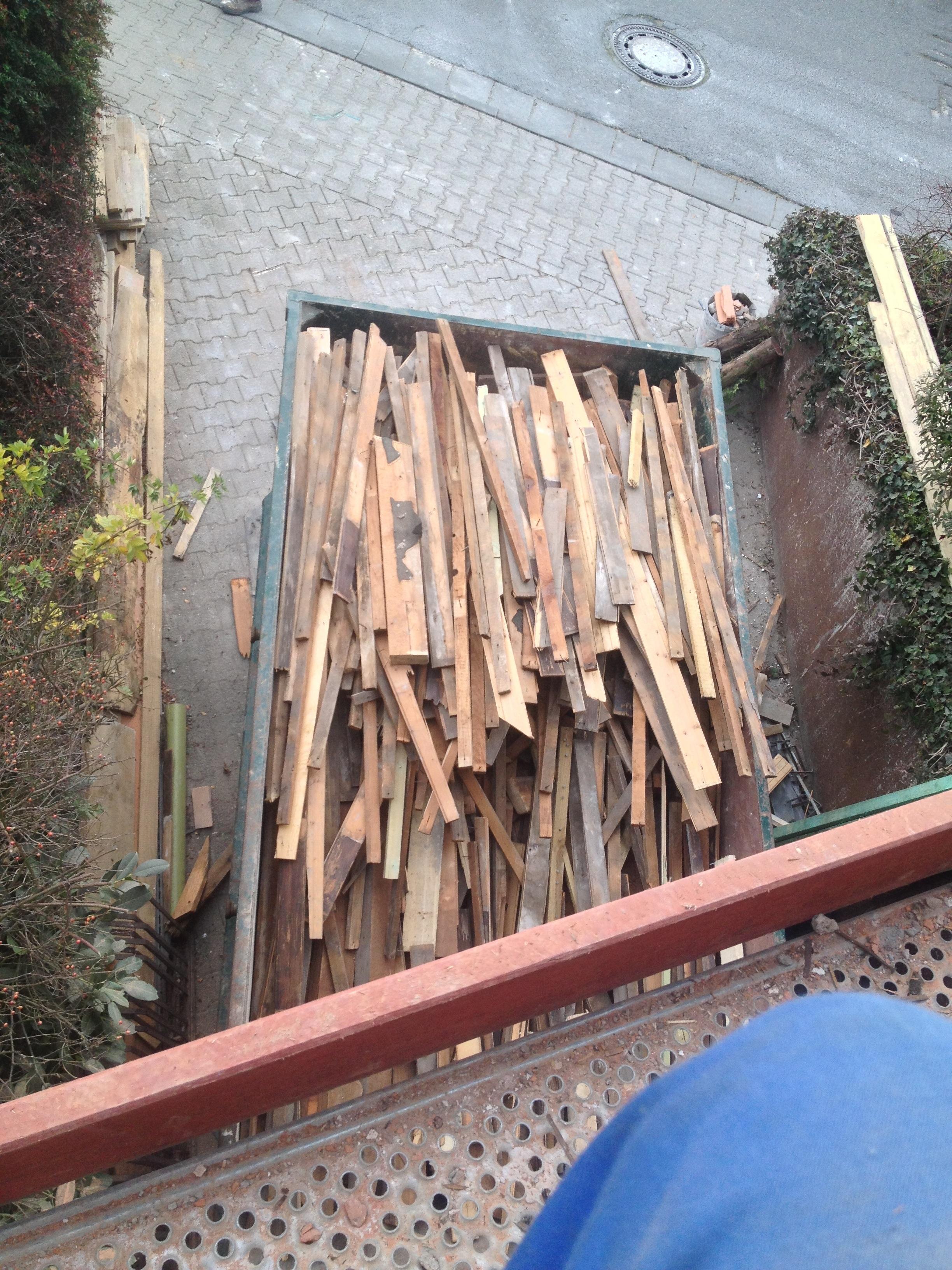 Holzcontainer von oben