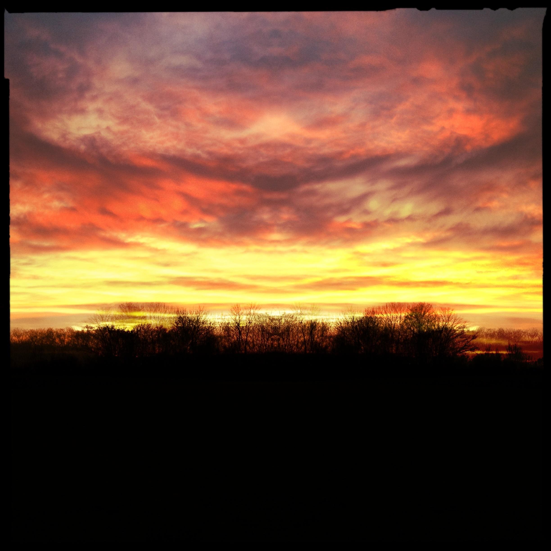 Sonnenuntergang auf dem Biedensand in Lampertheim