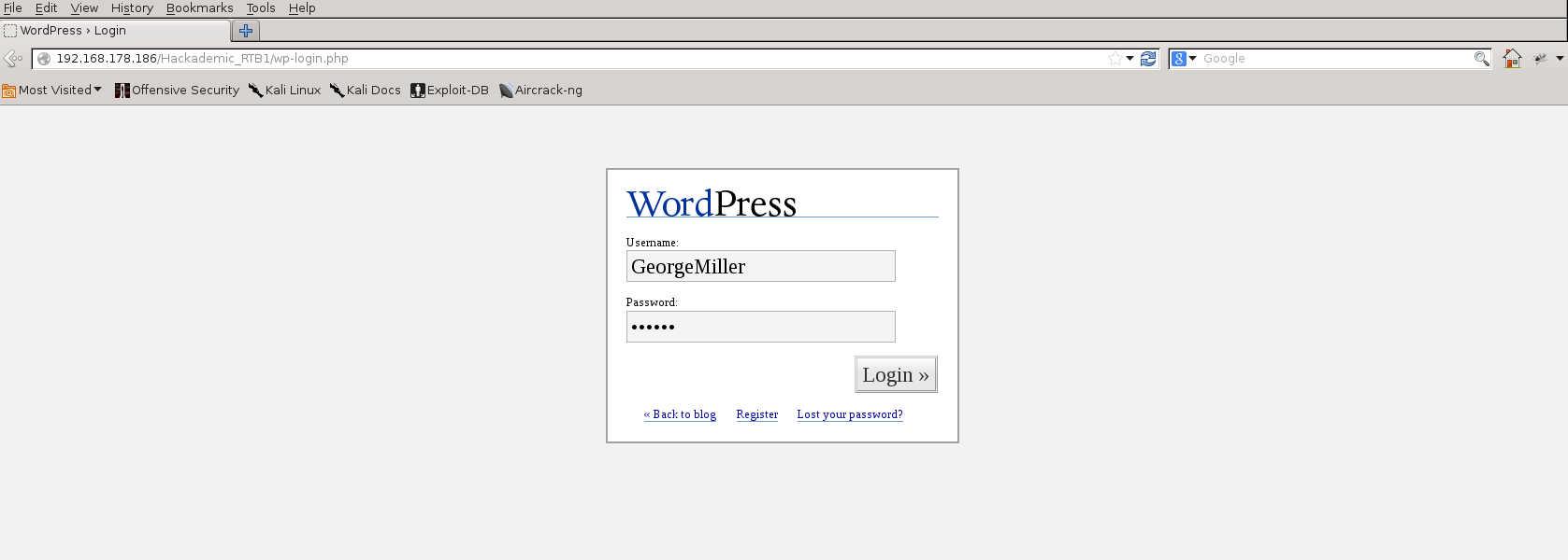 Wordpress 1.5.1.1 Login screen