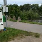 Hochwasser am Rheindamm in Lampertheim Montag