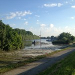 Hochwasser auf dem Biedensand in Lampertheim am 07.06.2013