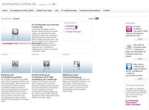 Die T-Online Webseite auf der Support für falsch gelistete Mailserver geboten wird.