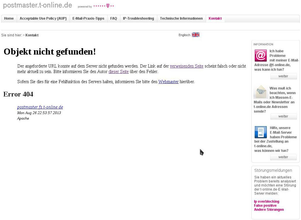 T-online Fehlerseite
