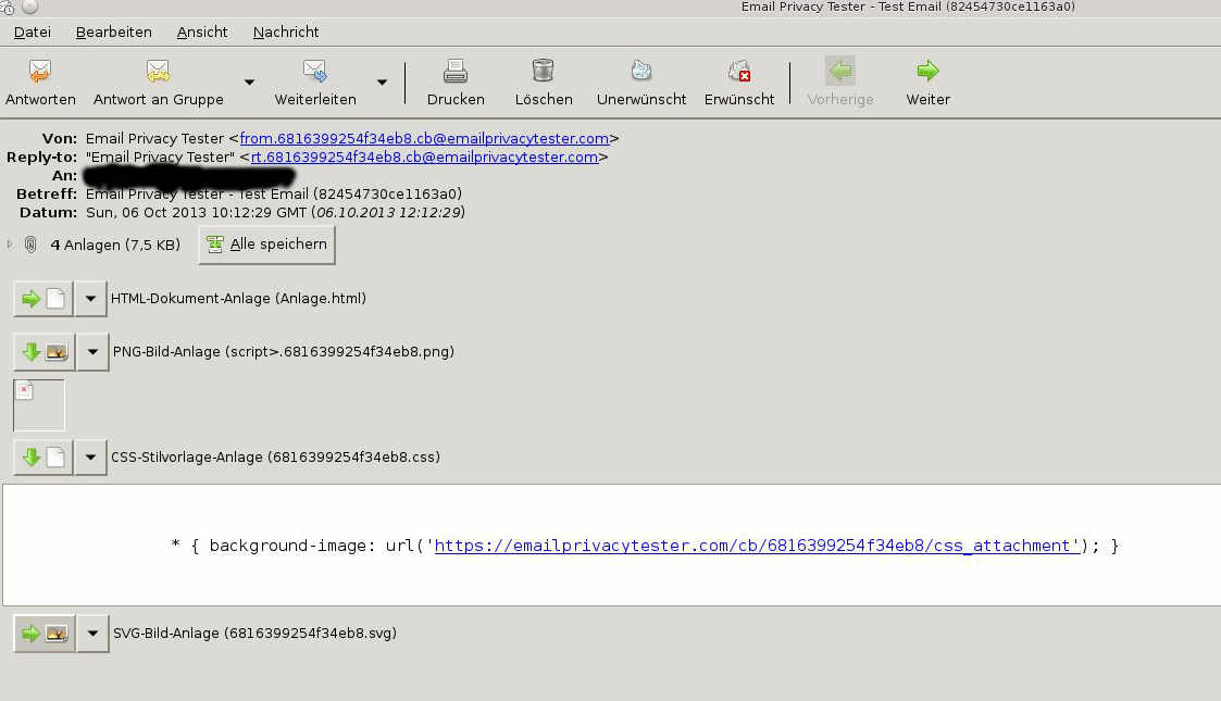 Email des Email-Privacy-Testers in meinem Evolution Client