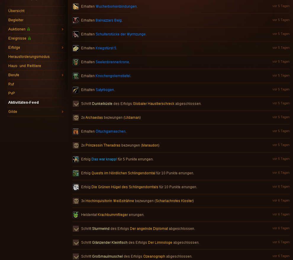 Screenshot meines Hunteraccounts im Battle.net