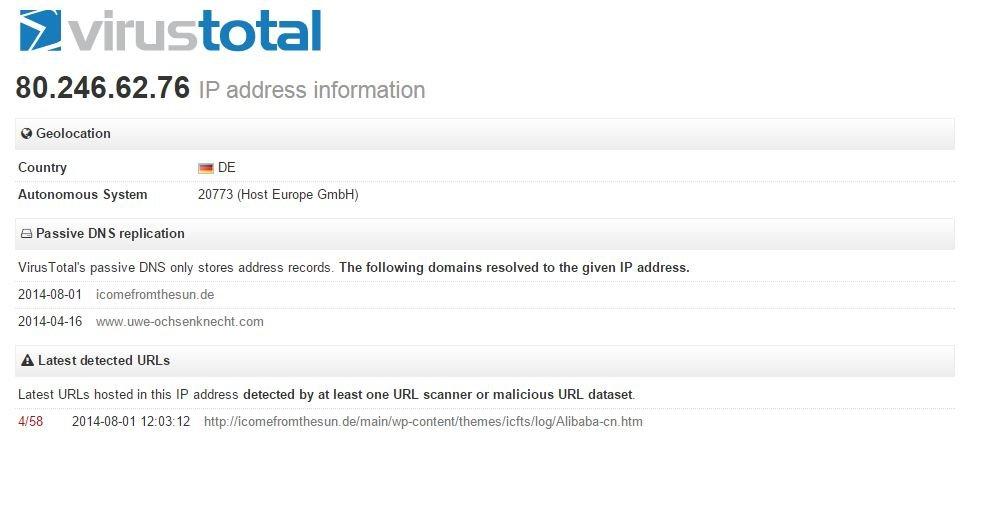 Auskunft zur IP bei Virustotal