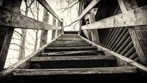 Die Treppe zu einem der Aussichtspunkte auf dem lampertheimer Biedensand