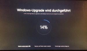 Der Intallationsdildschirm von Windows 10