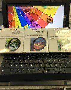 Android Tablett in Schutzhuelle mit Tastatur und ein Satz Walimex Pro ND-Filter