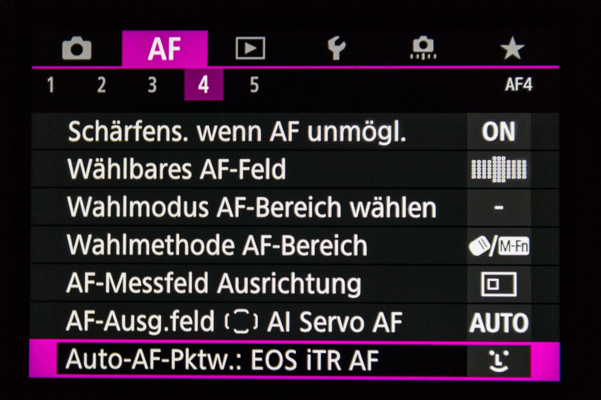 Hier ein weiteres Untermenue des AF meiner neuen Canon EOS 5D Mark IV