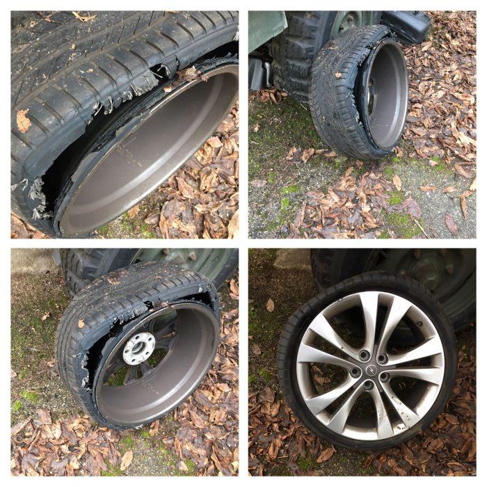 Mein defekter Reifen nochmal im Licht